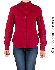girl in red shirt and jeans on a white background