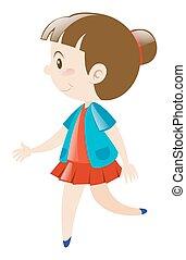 Girl in red skirt walking