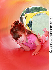 girl in red tunnel