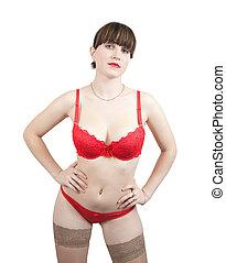 Girl in  red underwear on white background