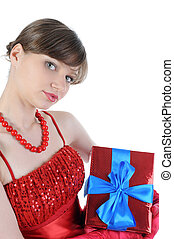 girl in red with a gift box.