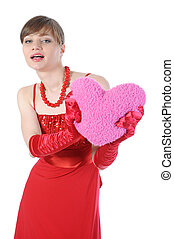 girl in red with a heart