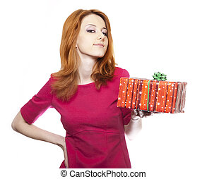 Girl in red with present box.
