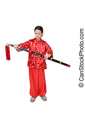 girl in red with sword