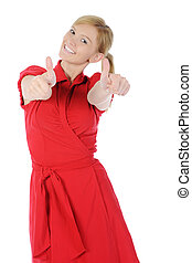girl in red with thumb up