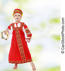 Girl in Russian national costume.