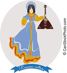 Girl in russian traditional clothing with balalaika, vector...