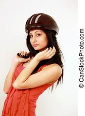 Girl in safety helmet - Pretty girl in sports safety helmet