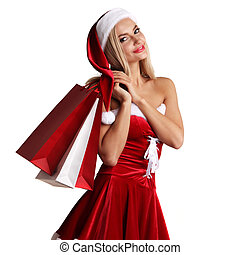 Girl in santa claus costume shopping