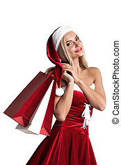 Girl in santa claus costume shopping