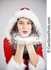 Girl in santa cloth