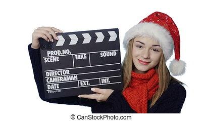 Girl in Santa hat