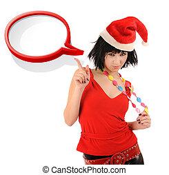Girl in Santa hat with speech bubble.