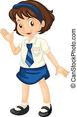 Girl in school dress