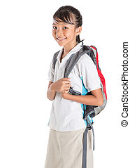 Girl In School Uniform And Backpack - Young Asian school...