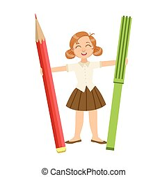 Girl In School Uniform With Giant Pencil And Crayon