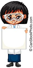 Girl in science gown holding board on white background