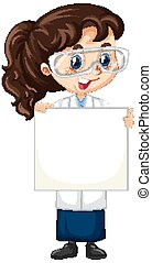 Girl in science gown holding paper on isolated background