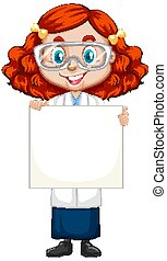 Girl in science gown holding paper on white background
