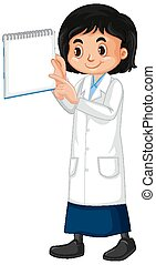 Girl in science gown holding sign on white background