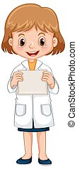 girl in science gown holding white paper