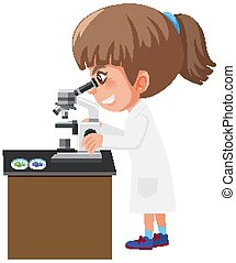 Girl in science gown looking at different cells through microscope