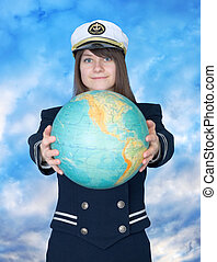 Girl in sea uniform and globe