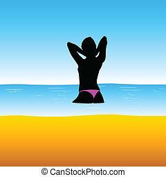 girl in sea vector illustration