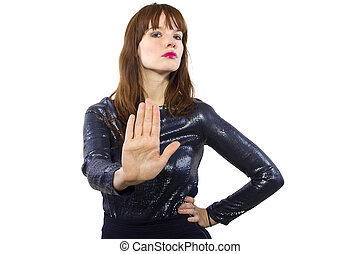 Girl in Shiny Dress Saying No