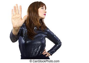 Girl in Shiny Dress Saying No - stylish woman refusing or...