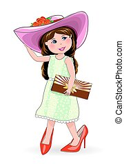 Girl in shoes and ladies' hat. Little fashion-girl