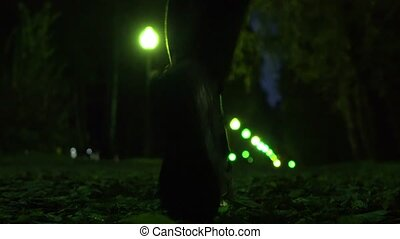 Girl in sneakers walking on autumn fallen leaves at night, shallow focus. Park alley green bokeh lights. 4K video