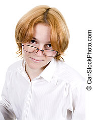 Girl in spectacles on white background