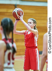 Girl in sport uniform playing basketball