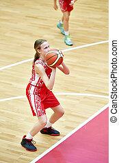 Girl in sport uniform playing basketball