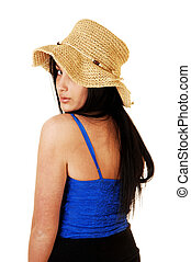Girl in straw hat.