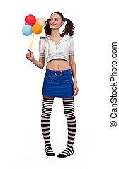 girl in striped socks
