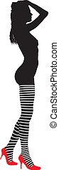 Girl in striped stockings