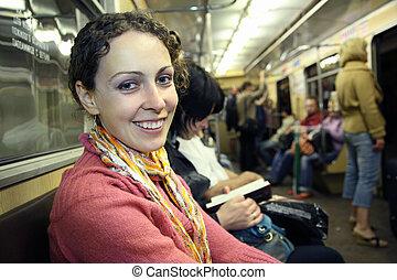 girl in subway metro