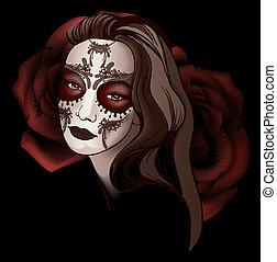 Girl in sugar skull make up