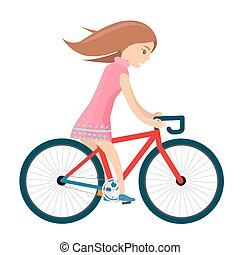 Girl in summer clothes rides bike isolated on white
