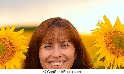 Girl in sunflowers