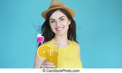 Girl in Sunhat with Cocktail