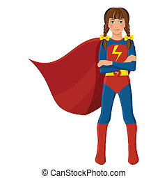 Girl in superhero costume full length portrait isolated on...