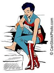 Girl in superhero costume undresses. Stock illustration.