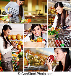 Girl in supermarket - Collage of pretty woman choosing...
