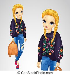 Girl In Sweater With Flowers