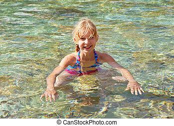girl in swim pool
