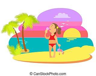 Girl in Swimsuit Eating Ice-cream, Summer Vector
