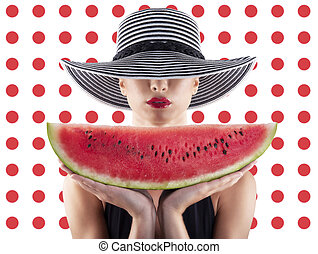 Girl in swimsuit with watermelon in hand and red circle background